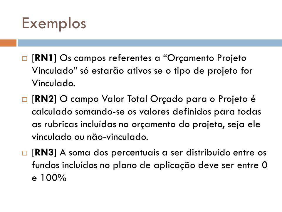 Exemplos [RN1] Os campos referentes a Orçamento Projeto Vinculado só estarão ativos se o tipo de projeto for Vinculado.